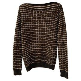 Les Petites-Black and gold boat neck sweater-Black