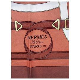 "Hermès-CARRE HERMES 100% Silk - Brown scarf ""Spur of Gold""-Brown,White,Beige,Golden,Orange,Eggshell,Light brown,Dark brown,Copper"