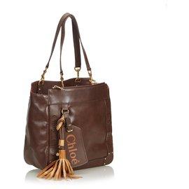 Chloé-Chloe Brown Leather Eden Tote Bag-Brown,Dark brown