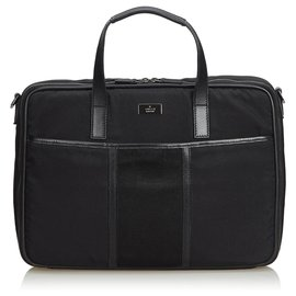 Gucci-Gucci Black Nylon Business Bag-Black