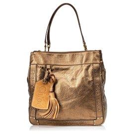 Chloé-Chloe Brown Leather Eden Tote Bag-Brown,Bronze
