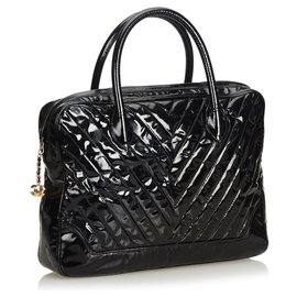 Chanel-Chanel Black Patent Leather Chevron Business Bag-Black