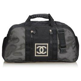Chanel-Chanel Black CC Nylon Sports Line Duffle Bag-Black,White
