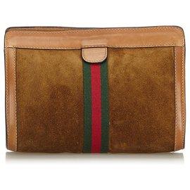 Gucci-Gucci Brown Web Suede Pochette-Marron,Multicolore,Marron foncé