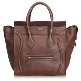 Céline-Celine Brown Leather Luggage Tote Bag-Brown