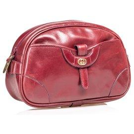 Gucci-Pochette en cuir vintage rouge Gucci-Rouge,Bordeaux