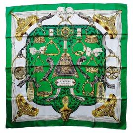 "Hermès-Square HERMÈS Paris ""Stirrups"" by Françoise de la Perrière-Brown,Black,Beige,Golden,Green,Olive green,Eggshell,Light brown,Dark brown,Light green,Dark green"
