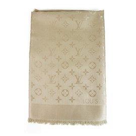 Louis Vuitton-Louis Vuitton Monogram Cream Dune Châle ton sur ton tissé jacquard de soie M71360-Écru