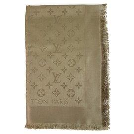 Louis Vuitton-Louis Vuitton monogramme Verone ton châle ton sur ton tissé jacquard de soie M72238-Taupe