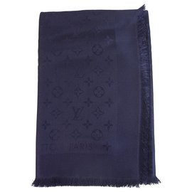 Louis Vuitton-Louis Vuitton monogramme Bleu nuit châle ton sur ton tissé jacquard de soie M72412-Bleu