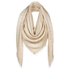 Louis Vuitton-Monogramme Louis Vuitton blanc brillant avec soie jacquard tissée à châle doré M74026-Blanc