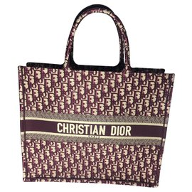 Dior-BORSA DIOR BOOK TOTE DIOR OBLIQUE-Bordeaux