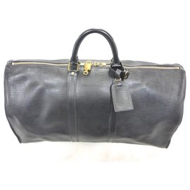 Louis Vuitton-KEEPALL 55 CUIR EPI NOIR-Noir