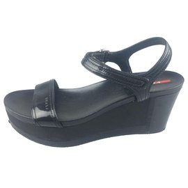 Prada-Prada Black Patent Leather Platform Sandal-Black