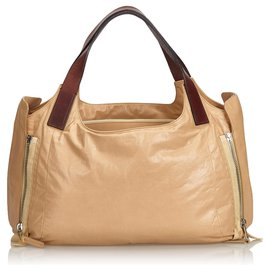 Céline-Celine Brown Leather Tote Bag-Brown,Light brown,Dark brown