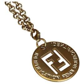 Fendi-Fendi Gold Pendentif Zucca-Doré