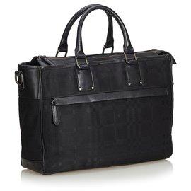 Burberry-Sac d'affaires Burberry en nylon noir-Noir