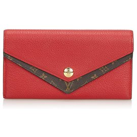 Louis Vuitton-Louis Vuitton Red lined V Wallet-Brown,Red