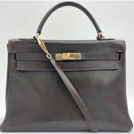 Hermès-KELLY MARRON 32 CM-Marron foncé