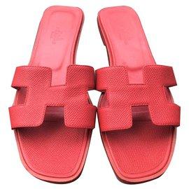 Hermès-Hermes Red Oran sandals flats EU36.5-Red