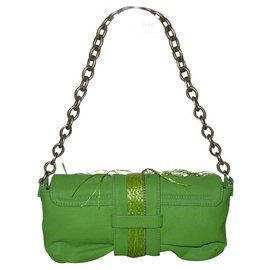 Lanvin-Lanvin by Albert Elbaz pre green bag ruched vegetable leather and raffia-Green
