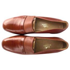 Hermès-HERMES Unworn Vintage Brown Loafers size 8,5 made in Italy-Brown