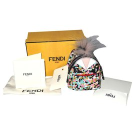 Fendi-Fendi Charm Monster/Porte-clés cuir neuf boite !-Multicolore