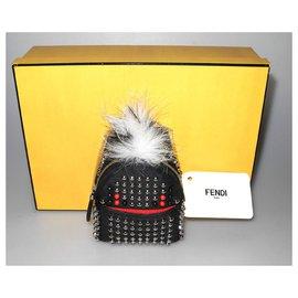 Fendi-Fendi Charm/porte-clés sac à dos nylon et cuir noir clouté neuf étiquette !-Noir