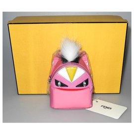 Fendi-Fendi Charm/porte-clés Monster nylon et cuir rose neuf boite !-Rose