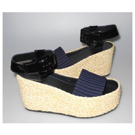 Céline-Céline new wedge sandals box-Black,Navy blue