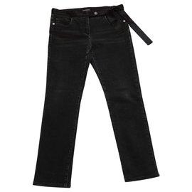 Chanel-CHANEL Jeans ceinture noeud soie-Noir