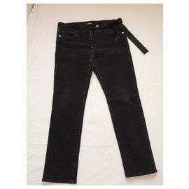 Chanel-CHANEL Silk bow belt jeans-Black