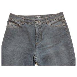 Chanel-CHANEL raw jeans-Dark blue