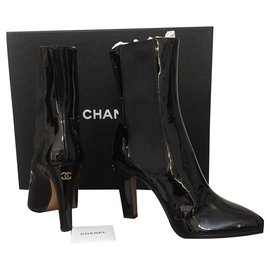 Chanel-Chanel patent boots-Black