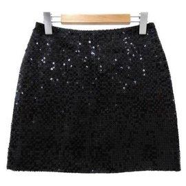 Chanel-Chanel Black sequinned Mini Skirt FR38-Black