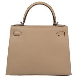 Hermès-Superbe Hermès Kelly 28 bandoulière en cuir epsom couleur Trench, état neuf !-Beige