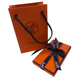 Hermès-Card to tie-White,Orange