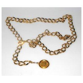 Chanel-Chanel ceinture chaine métal doré avec médaillon siglé-Doré