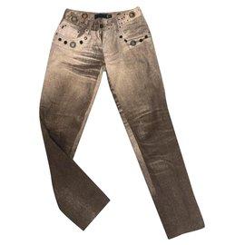 Roberto Cavalli-Pantalons, leggings-Beige
