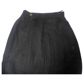 Chanel-Chanel lux linen skirt with button jewelry bag hand-Black