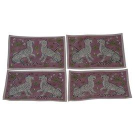 Hermès-4 sets de table leopard-Autre