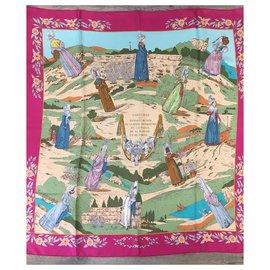Hermès-Silk scarves-Pink,Blue