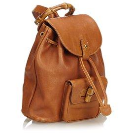 Gucci-Gucci Sac à dos à cordon en cuir de bambou marron-Marron,Marron clair