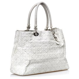 Dior-Dior White Cannage Leather Tote Bag-White