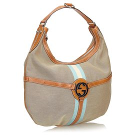 Gucci-Gucci Brown Web Canvas Reins Hobo Bag-Brown,Multiple colors,Beige