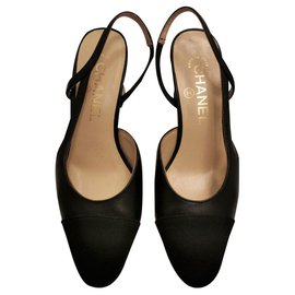 Chanel-Chanel Black leather slinggbacks EU36-Black