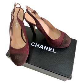 Chanel-Chanel red suede slingbacks EU38-Red