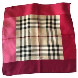 Burberry-Silk scarves-Red,Beige