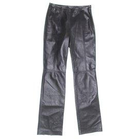 Loewe-Pantalon en cuir Loewe-Noir