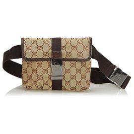 Gucci-Gucci Brown GG Sac de ceinture en toile-Marron,Beige